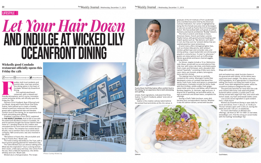 The Weekly Journal: Let Your Hair Down and Indulge at Wicked Lily Oceanfront Dining